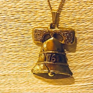 Jewelry - Vintage Liberty Bell 76 Long Gold Pendant Necklace